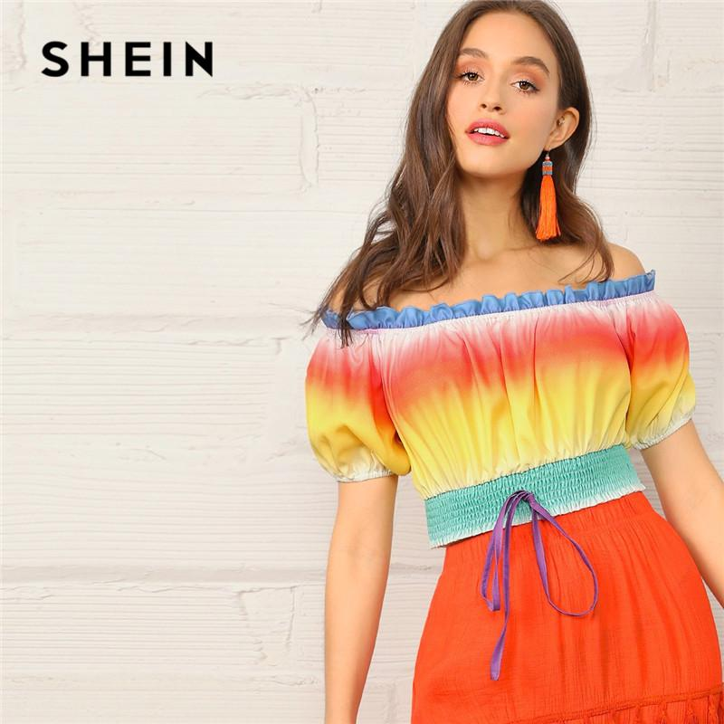 d56cb0641b 2019 SHEIN Sexy Shirred Hem Short Sleeve Ombre Blouse Women Glamorous Frill Off  Shoulder Top 2019 Summer Boho Puff Sleeve Ladies Tops From Liumeiwan, ...