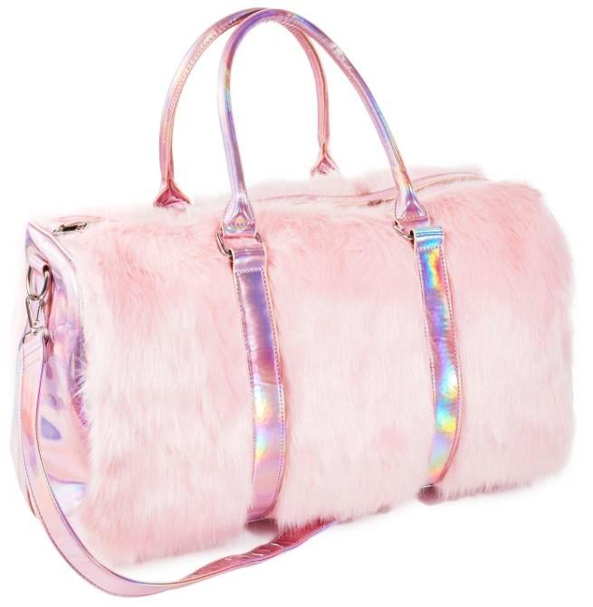 2018 new Soft Rainbow Handbags Faux Fur women Tote Bags Large Capacity Laser Symphony Pink Shoulder Bags Boston Bag HIgh quality D19011204