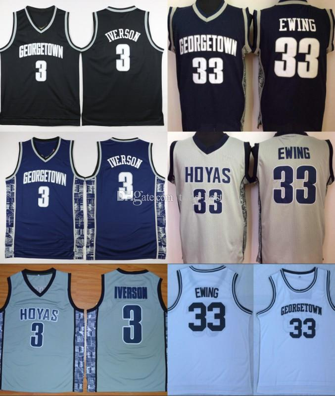 newest 77ef2 46f58 NCAA Mens Georgetown Hoyas Iverson College Jersey Cheap 3 Allen Iverson 33  Patrick Ewing University Basketball Shirt Good Stitched Jersey