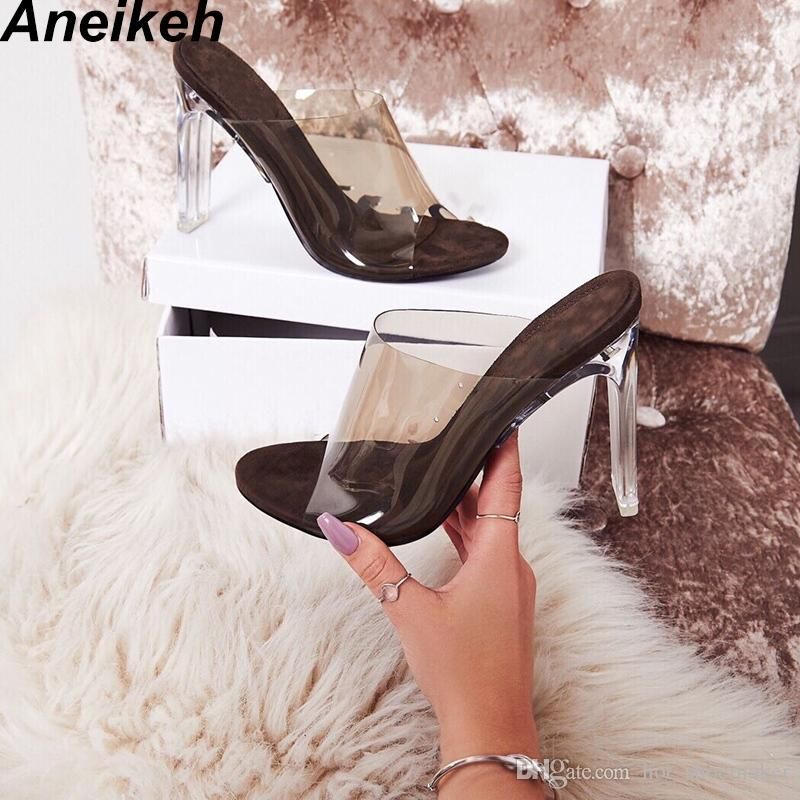 d6cbeaddfb58 Aneikeh 2019 New PVC Jelly Sandals Crystal Open Toed Sexy Thin Heels  Crystal Women Transparent Heel Sandals Slippers Pumps  10232 Bamboo Shoes  High Heels ...