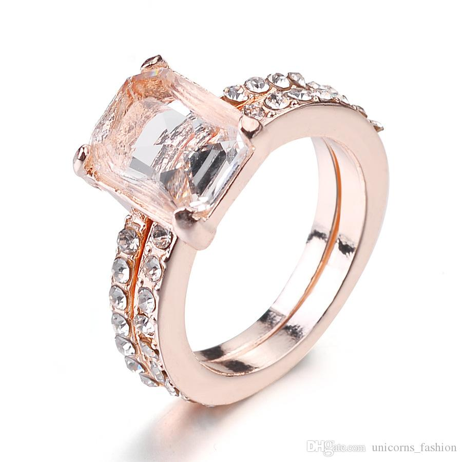 18K Rose Gold Plated Wedding Crystal Ring Size 5-12 US Luxury Stone Gold Plated Ring Women Girl Elegant Women Jewelry CNY991