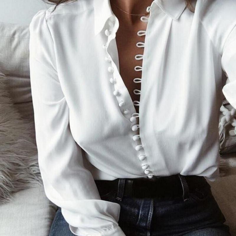 1519655ba45 2019 Lossky Fashion Casual Solid Color Ladies Office Tops Sexy ...