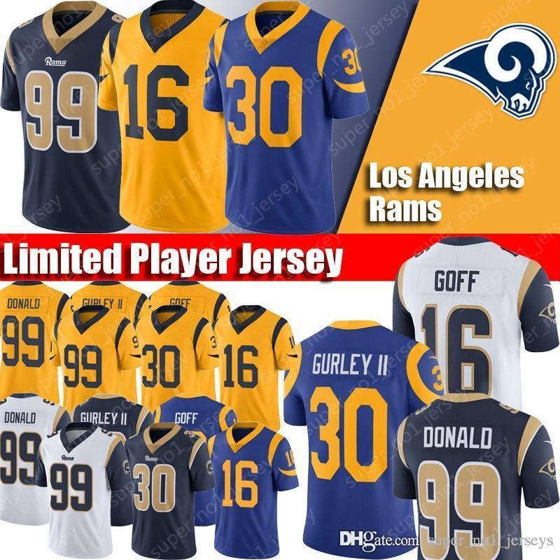 the latest 59656 f8df8 Los Angeles Rams Jerseys 16 Jared Goff Jersey 30 Todd Gurley Jerseys 99  Aaron Donald Jersey Fast Shipping Quick Dry