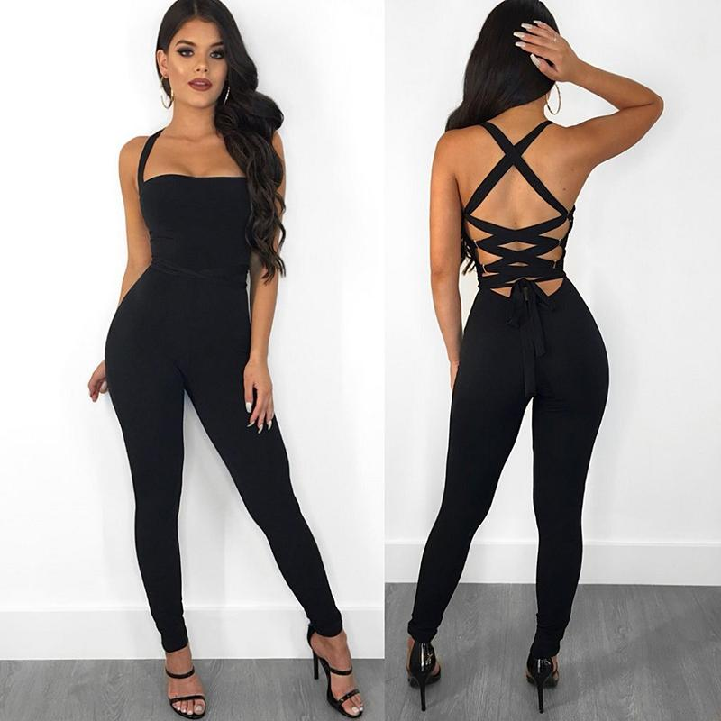09d4d323963 2019 Sexy Bandage Backless Rompers Tights Female Jumpsuits For Women 2018  Overalls Plus Size Playsuit Casual Black One Piece Bodysuit C19011001 From  ...