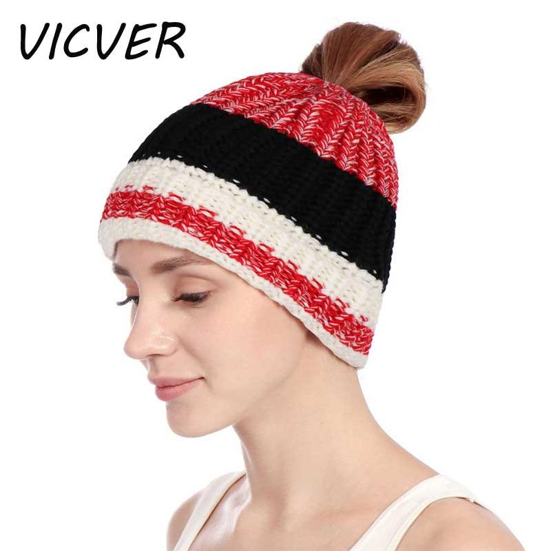 Stripe Stretch Messy Bun Ponytail Hats For Women Winter Warm Outdoor Ski  Caps Ladies Crochet Ponytail Beanie Fashion Soft Hat Sun Hat Hats For Men  From ... 58e9a12e120
