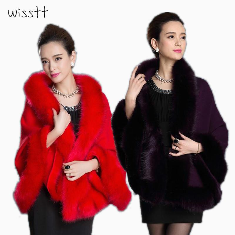 Fashion Women Faux Fur Coat Leather Grass Fox Fur Collar Ponchos And Capes Bridal Wedding Dress Shawl Cape Lady Wool Coat