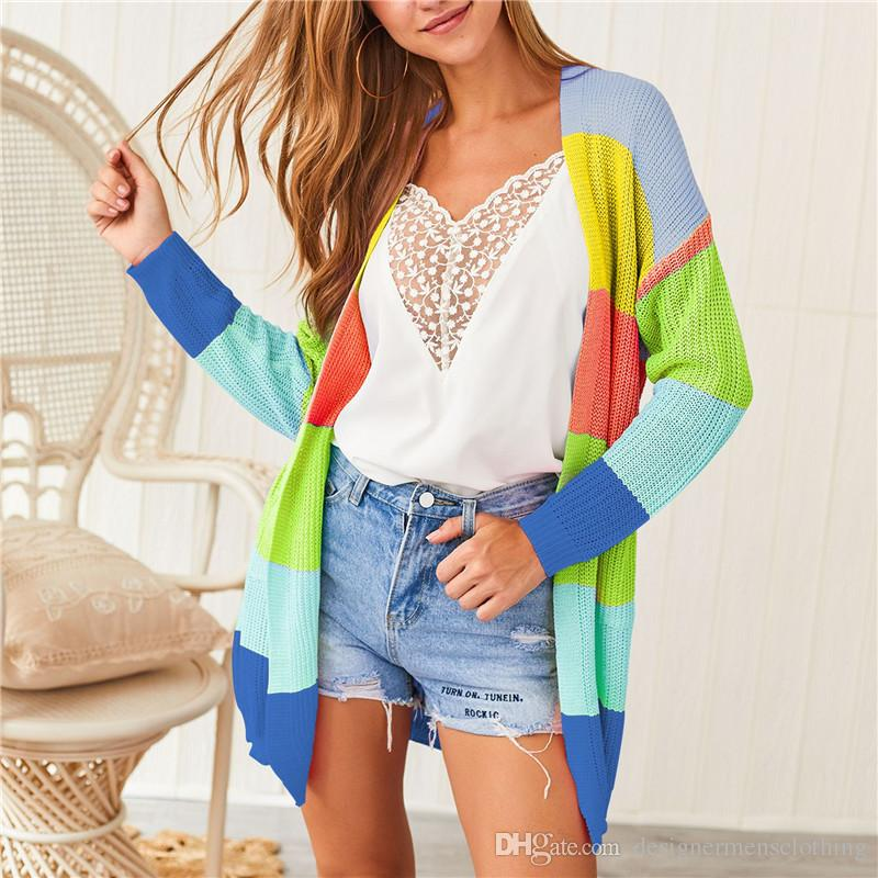 Colorful Striped Womens Cardigan Sweaters Rainbow Long Sleeve V Neck Loose Ladies Knit Coat With Pockets