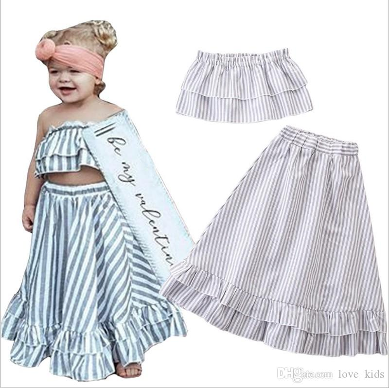 420f53731f 2019 Child Clothing Sets Summer Kids Strapless Tops And Long Skirt Fashion  Style 100% Cotton Child Outfits From Love kids