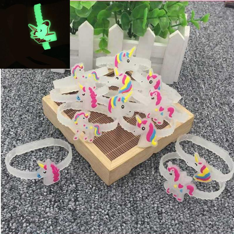 10pcs Unicorn Party Rubber Glowing Bracelet Birthday Party Decorations Kids Baby Shower Rainbow Unicornio Party Favors Supplies