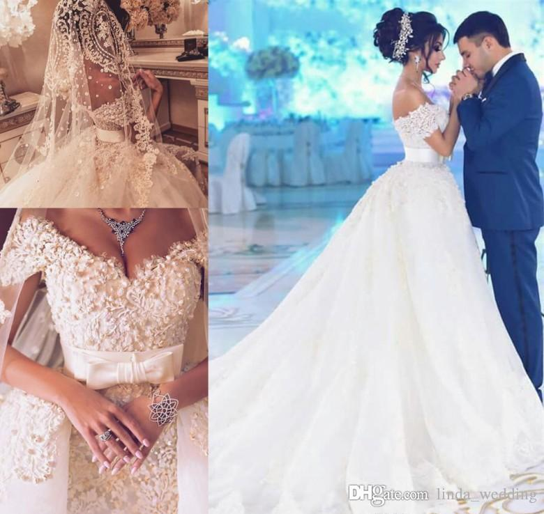 2019 Dubai Arabic Wedding Dresses Lace Appliques Off: Discount 2019 Dubai Arabic Wedding Dress A Line Off The
