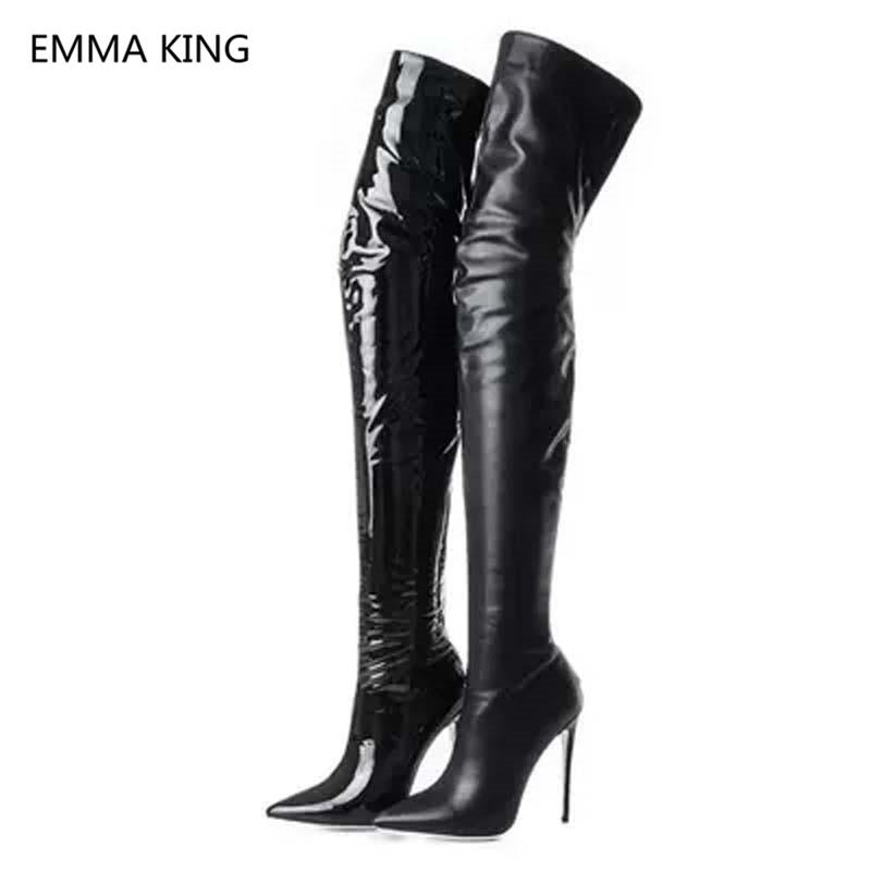 4c7b38e5fdd Black Patent Leather Over The Knee Boots Women Sexy Pointed Toe High Heel  Shoes Thigh High Knight Boots Elastic Socks Long Ariat Boots Work Boots  From ...