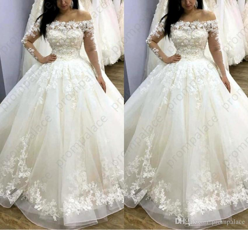 2019 Elegant 3D Flower Wedding Dresses With See Through Full Sleeves Lace  Appliques Tutu Bridal Gowns Boat Neck Vestido De Noiva Corset Wedding Dress  Cream ... 5b9dbce003f9