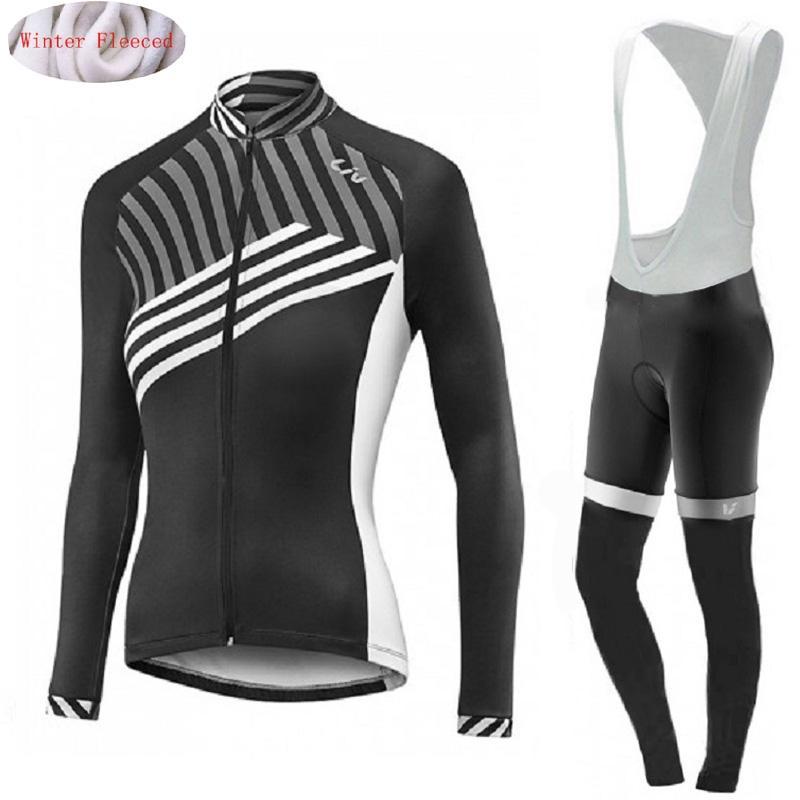 158c53b4f LIV 2018 Winter Women Thermal Fleece Cycling Jersey Bib Pants Set Ropa  Ciclismo Invierno Bicycle Clothing Warm Bike Clothes Womens Cycling Jerseys  Long ...