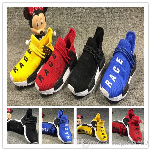 timeless design 00b11 cf1f7 NMD Human Race trail Boy girl youth Running Shoes Pharrell Williams HU  Runner Yellow Black Red sport runner kids Children sneakers