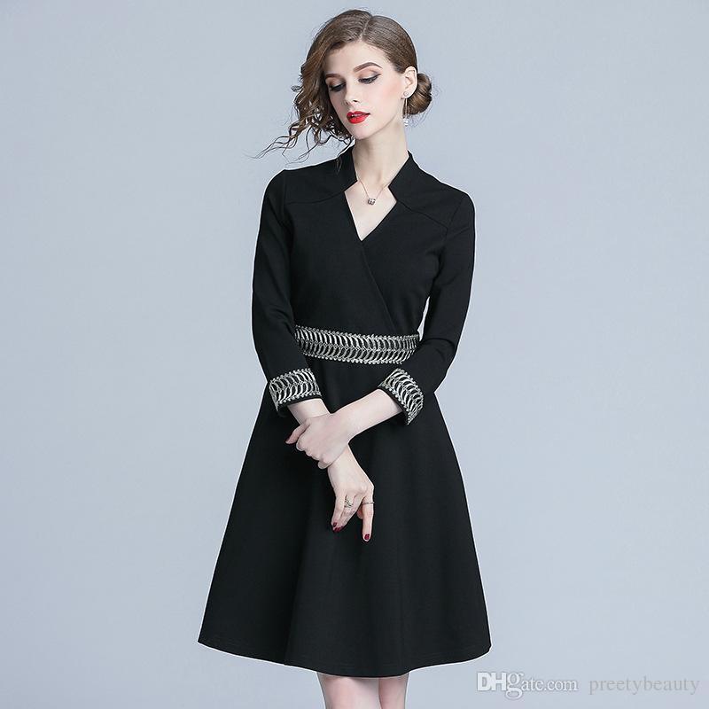 2019 Women Long Sleeve Formal Dress Tunic Career Office Dress