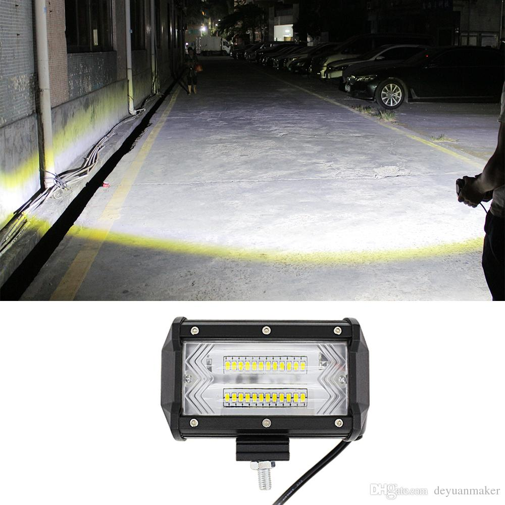 Led Light Bar 5Inch 72W 10800Lumens Dos filas modificadas Off Road Luces Light Bar, Camiones, Carretillas Elevadoras Roof Light Bar