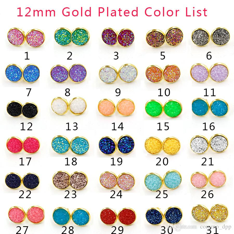 30 color Luxury druzy Stud Earrings Bling Round Heart shape Resin stone Dangle Gold Silver Earrings For women & Ladies Fashion Jewelry Bulk