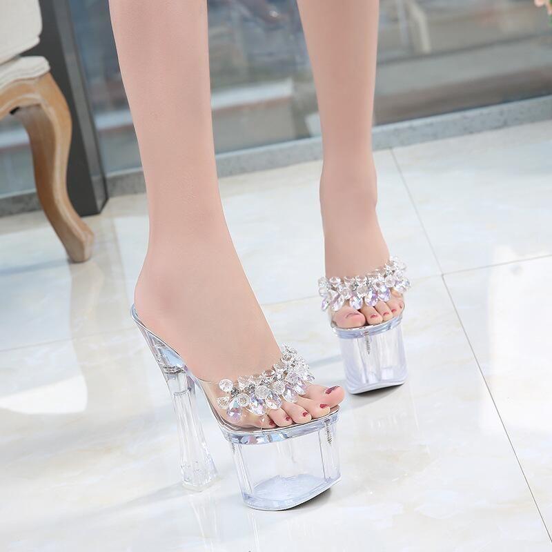 57c249115d66 18cm Crystal High Heels Platform Slides Women Sexy Beads Transparent Summer  Heels Dress Shoes Woman Open Toe Nightclub Summer Shoes Sandals Purple Shoes  ...