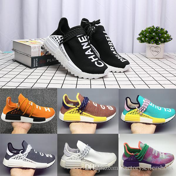 c7768039b9b3b PW Human Race Hu Trail X Men Running Shoes Pharrell Williams Nerd Black  White Cream Tie Dye Sun Glow Womens Trainers Sports Sneakers Sneakers Sale  Womens ...