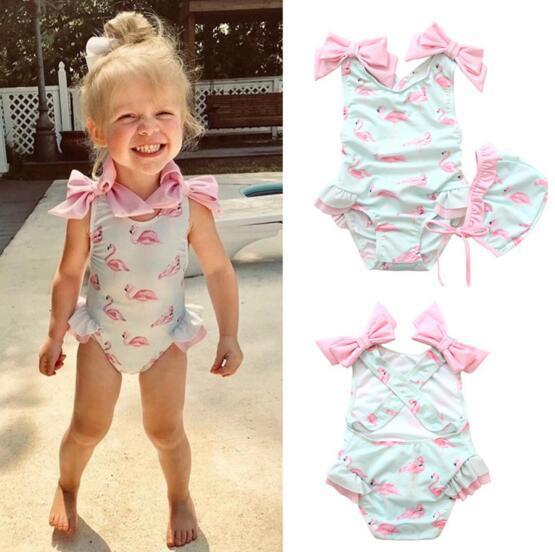 9f85ece598142 New Lolita baby girl Designer Bikini Flamingo bow One Piece Bikini +hat  swimwear summer Girl swimsuit Beach Bikini fast shipping