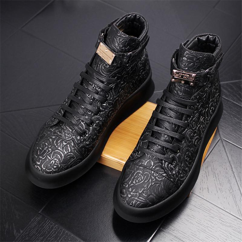 7373d80e 19New Men's Genuine Leather High-Top Thick Outsole Fashion Casual Skate  Shoes Brand Man Ankle Boots Mens Young Printed Nightclub Party Flats