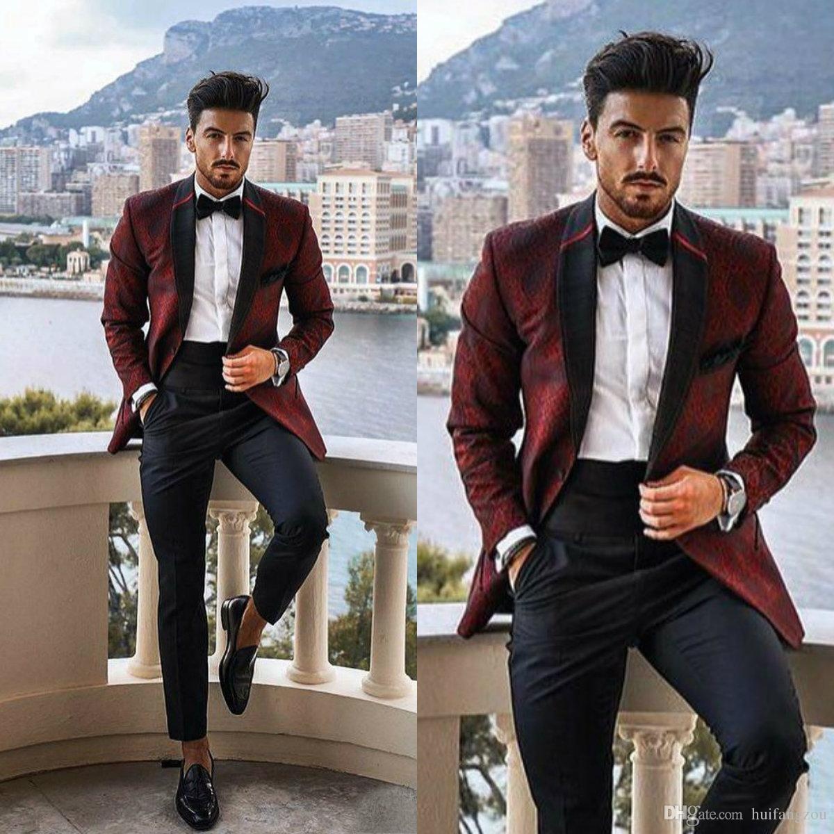Custom Made Popular Mens Wedding Suits 2019 Slim Fit Groom Tuxedos Mens  Handsome Two Pieces Party Suits Prom Tuxedos