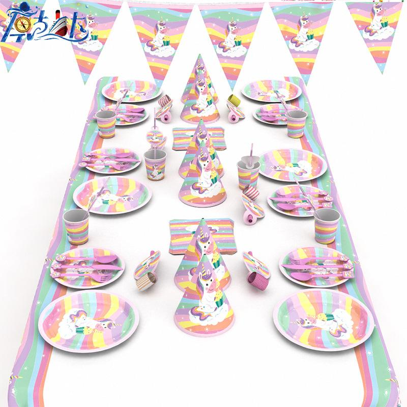 66pcs Unicorn theme paper plate cup napkin tablecloth knive cap for Kids birthday Party Supplies 6person use