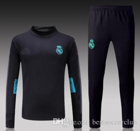 0d3014e21 2019 New Soccer Tracksuit 2017 2018 Real Madrid Uniforms White Black Jackets  Pants RONALDO BALE BENZEMA Training Suits 17 18 Footbal Long Sleeve From ...