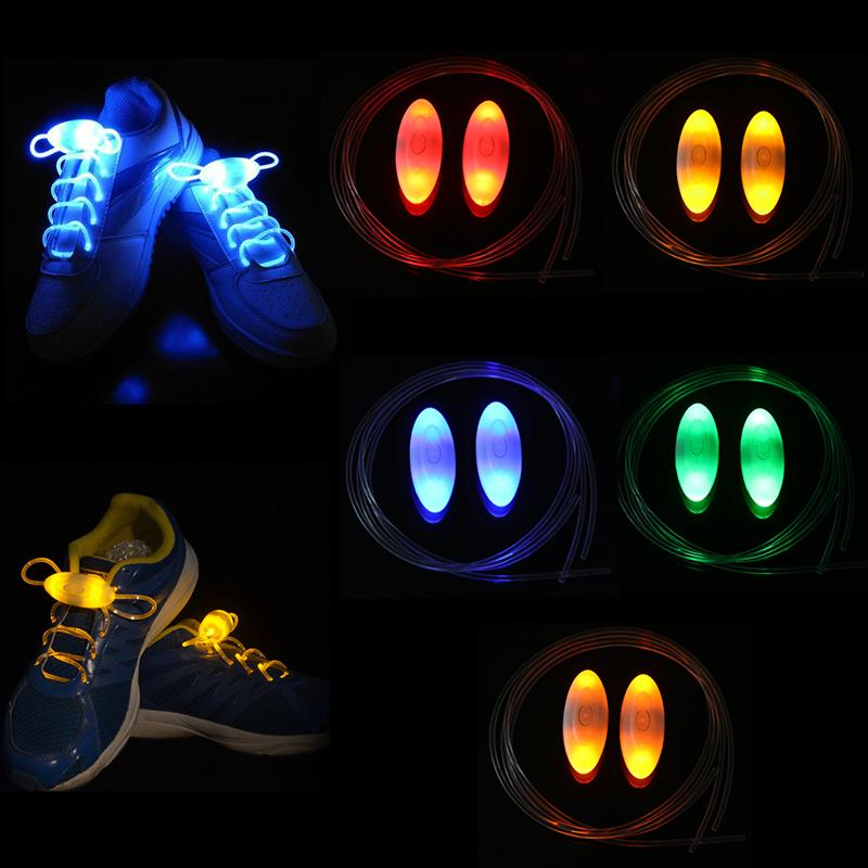 1Pair Personality Led Sport Shoe Laces Glow Shoe Strings Round Flash Light Shoelaces Fashion Luminous No Tie Lazy Laces