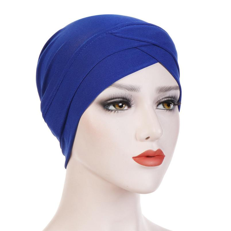 Estate delle donne del nuovo di modo solido India Cappello musulmano Ruffle Cancer Chemo casual Beanie Turbante sciarpa dell'involucro Berretti Berretto eleganti cappelli # 4R22