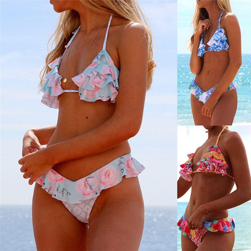 59e78f14b55 2019 Sexy Ruffle Bikini Floral Push Up Swimsuit Women Lace Up Swimwear  String Bathing Suit Monokini Biquini Wave Bikini Set XL From Hutu74521514,  ...