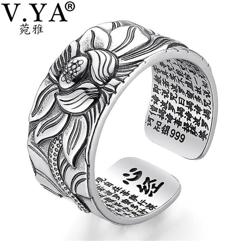 V.ya 100% Real 999 Pure Silver Jewelry Lotus Flower Open Ring For Men Male Fashion Free Size Buddhistic Heart Sutra Rings Gifts C19041201