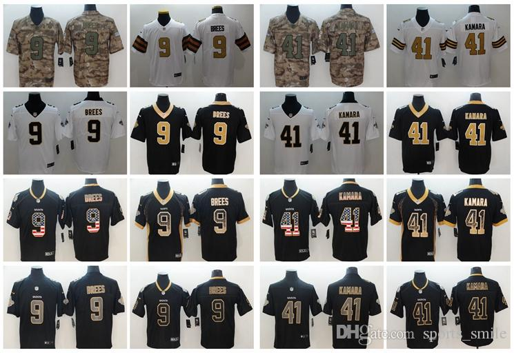 official photos 3a263 db341 Mens New Orleans Saints Football Jersey 41 Alvin Kamara 9 Drew Brees Jersey  Stitched Embroidery Color Rush Saints Football Shirts
