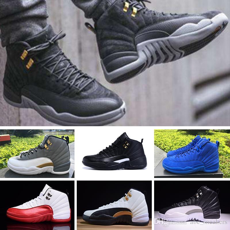 reputable site be298 aab07 Acheter Nike Air Jordan 12 Retro Haute Qualité Jd 12 12s Mens Femmes Air  Chaussures De Basket Ball OVO White Gym Rouge Gris Taxi Suede Grippe Jeu De  Course ...
