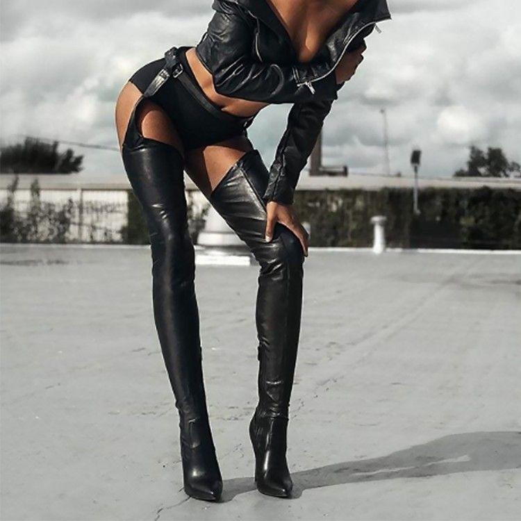 Femme Schritt Schuhe Frau Schwarze Spitze Zehe Hose Oberschenkel Taille Stiefel Dem High Über Heels Sexy Knie Hoch Chaussures Geschlossen Botines SzMUVp