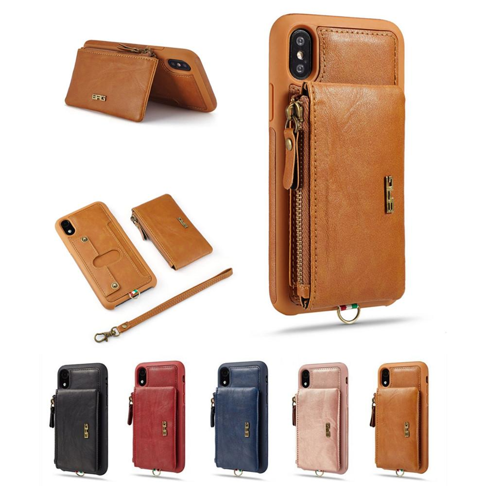 new arrival 62ef9 33f95 Zipper Leather Wallet Case for iPhone 6 7 8 X Xr Xs Max Card Holder  Kickstand Luxury Phone Case Shockproof Back Cover with Purse and Lanyard