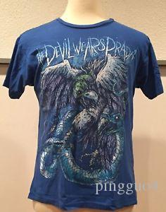 Devil Wears Stampa Snake Eagle Vultures Blue T Shirt Metalcore Metal Band Medium