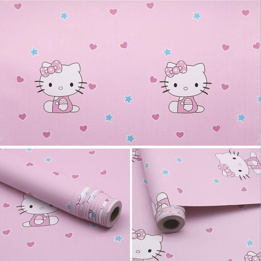 Cute Lovely Pink Hello Kitty Wallpaper Waterproof Self Adhesive Pvc