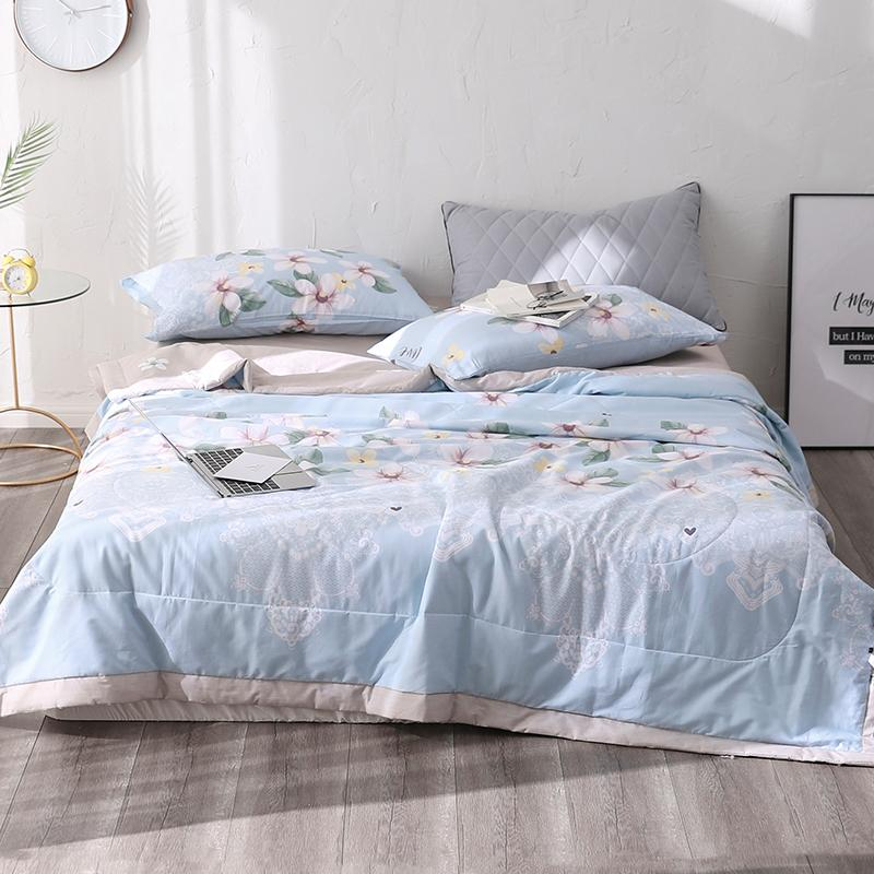 white flowers print 1PCS cotton bedspread coverlet/bed cover,also good use as summer blanket 200*230/150*200/180*200cm