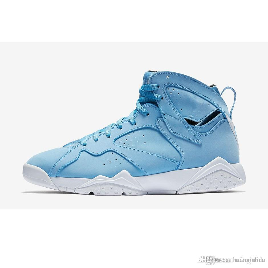 ce6bb77cfe7823 2019 Womens Jumpman 7 VII Basketball Shoes 7s Pantone Blue UNC University North  Carolina Alternate Olympics J7 Sneakers For Youth Kids With Box From ...