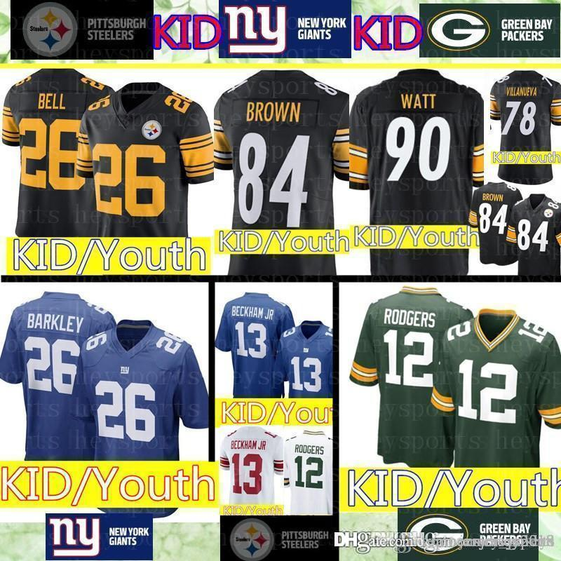 detailed look c2412 8f5fd Green Bay kid Packers 12 Aaron Rodgers Jersey Youth Steelers 84 Antonio  Brown KID 26 Saquon Barkley York New Giants Jerseys