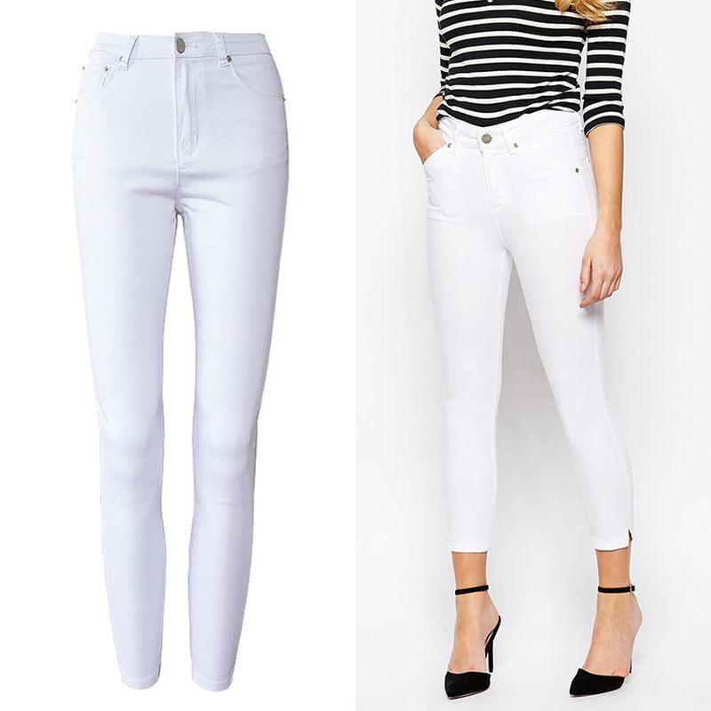 e429b142c51f Acheter 2019 Printemps Blanc Skinny Jeans Femme Haute Extensible Push Up  Pantalon Longueur Cheville Femmes Taille Haute Lavé Coton Lady Crayon  Pantalon De ...