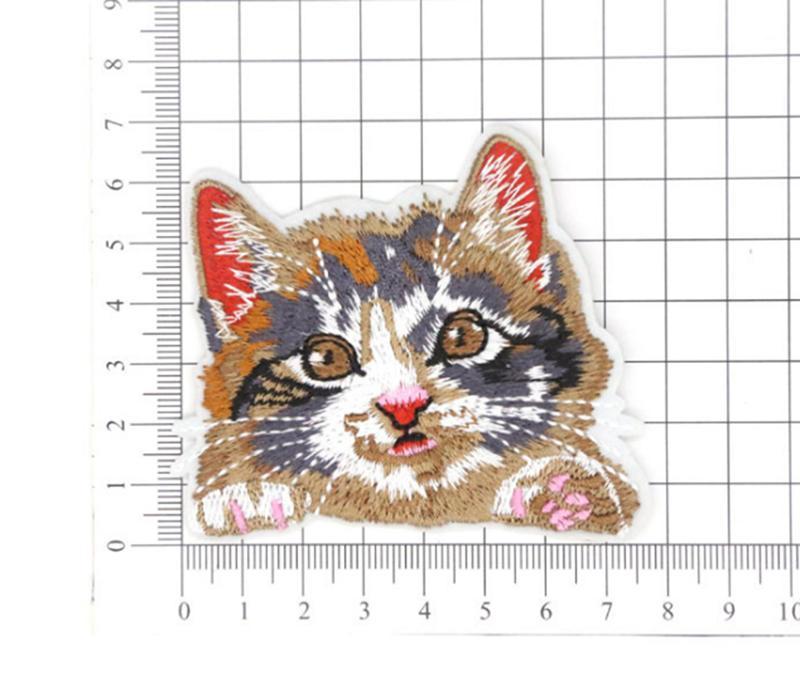 Kedi Nakış Kumaş Yamalar Nakış Bölüm Dekoratif Denim Kumaş
