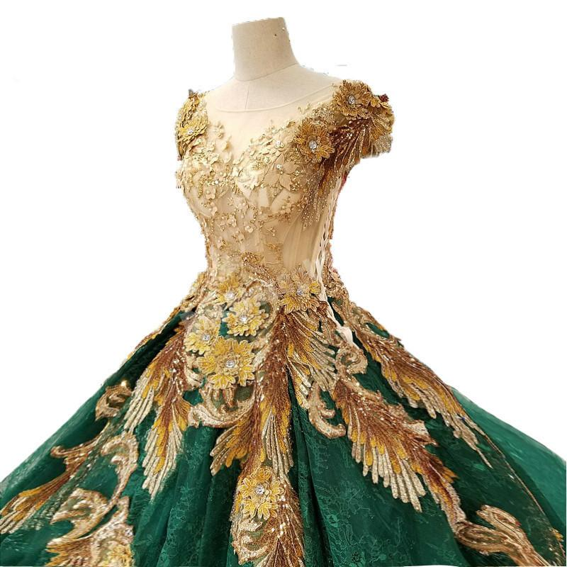 c3fcf149a8c Amazing Gold Lace And Dark Green Sexy Prom Dresses Beads Luxury Evening  Party Dresses Robe De Soiree Kafatan Special Occasion Online with   769.97 Piece on ...
