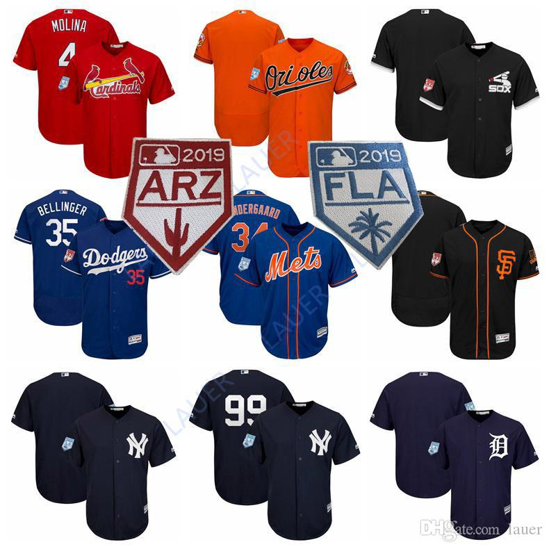 save off 1d9bf 93bde Custom 2019 Spring Training Baseball Jersey Cardinals Dodgers Yankees Mets  Sox Tigers Giants Orioles Bellinger Molina Jerseys
