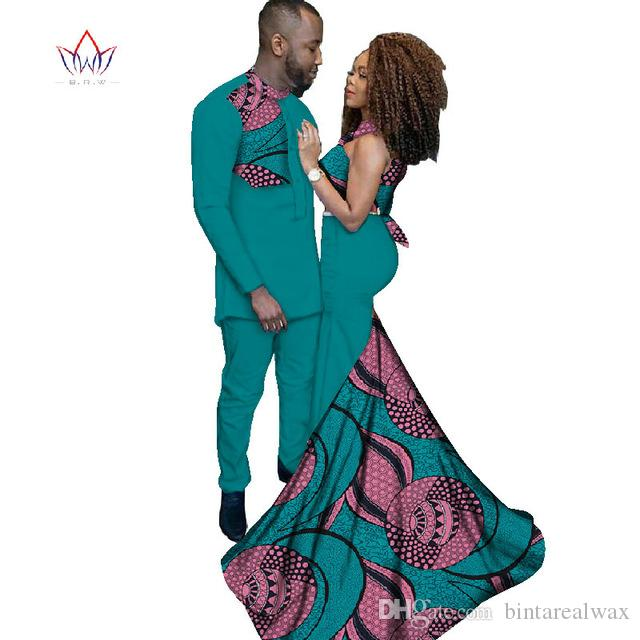 2019 Fashion African Clothing Dresses for Women Ankara Style Batik Prints Men's Suit & Lady Sexy Dress Couples Clothing WYQ52
