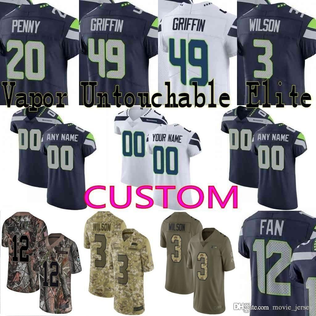 timeless design 8868c b50eb custom Men youth women Seattle Shaquem Griffin Russell Wilson Michael  Dickson Shaquill seahawks Camo Realtree Limited Elite Jersey