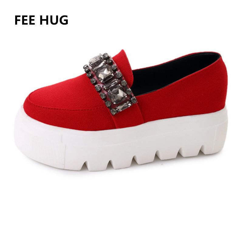 55c9e28a862f Designer Dress Shoes FEE HUG 2019 Spring Autumn Platform Heels Women Casual  Slip On Crystal Sneakers Woman Lady Loafers Creepers Moccasin Silver High  Heels ...