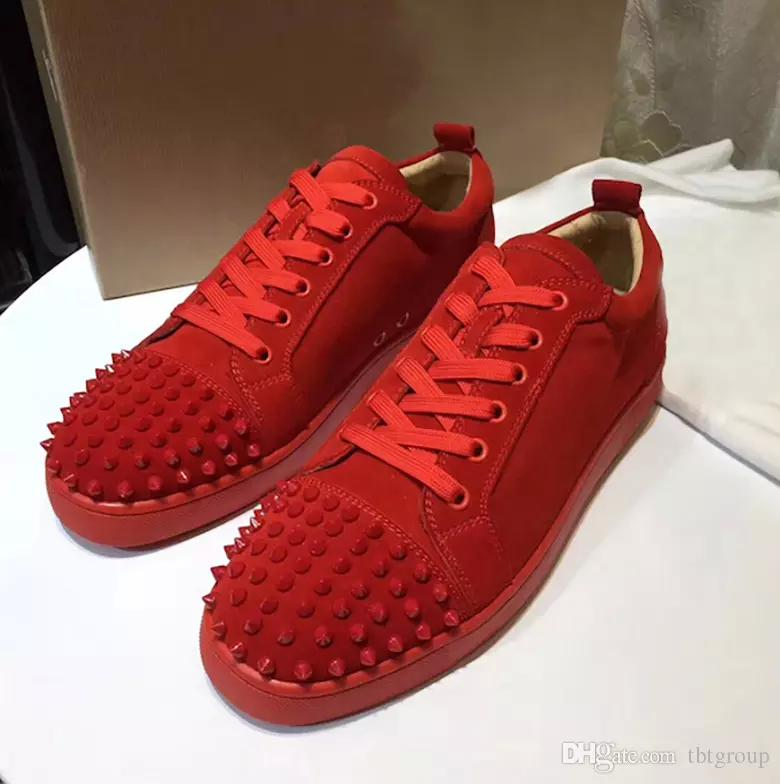 2018 Designer Sneakers Red Bottom Shoe Low Cut Suede Spike Luxury Shoes For  Men And Women Shoes Party Wedding Crystal Leather Sneakers Dansko Shoes  Indoor ... 788e2c257d