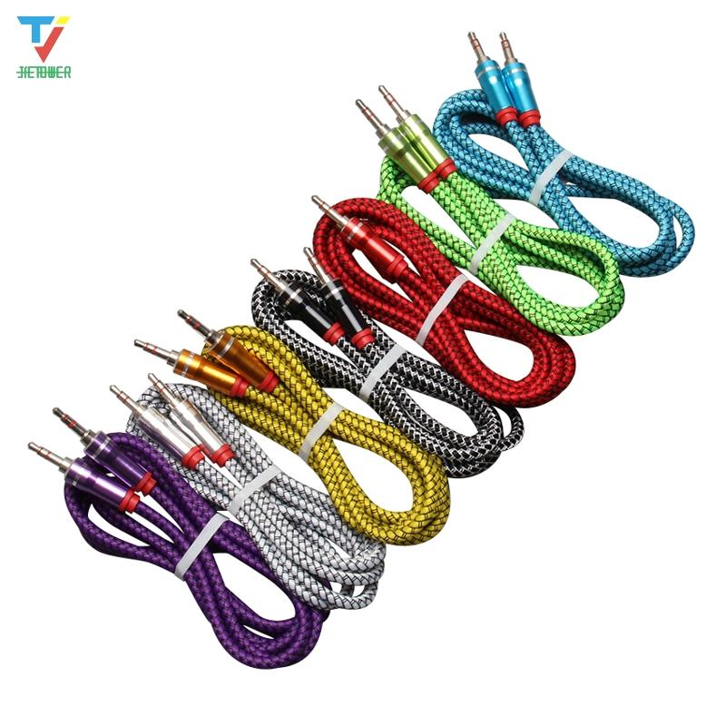 3.5mm Cable Leather woven braided audio cable 3.5 jack to jack aux cord 1.5m Headphone Speaker AUX Cable for iphone Car MP3 100pcs/lot